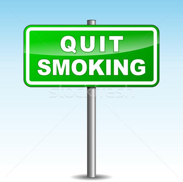 Stock photo: Vector quit smoking signpost