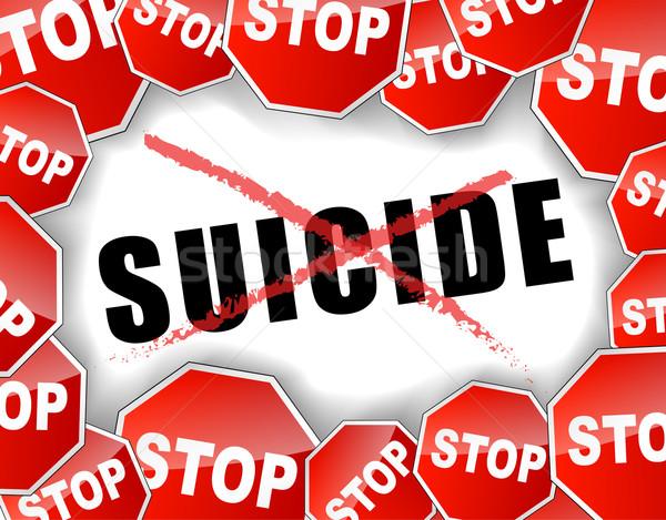 Arrêter suicide route fond rouge blanche Photo stock © nickylarson974