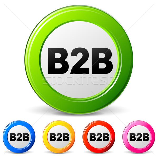 Wektora b2b ikona biały kontakt internetowych Zdjęcia stock © nickylarson974