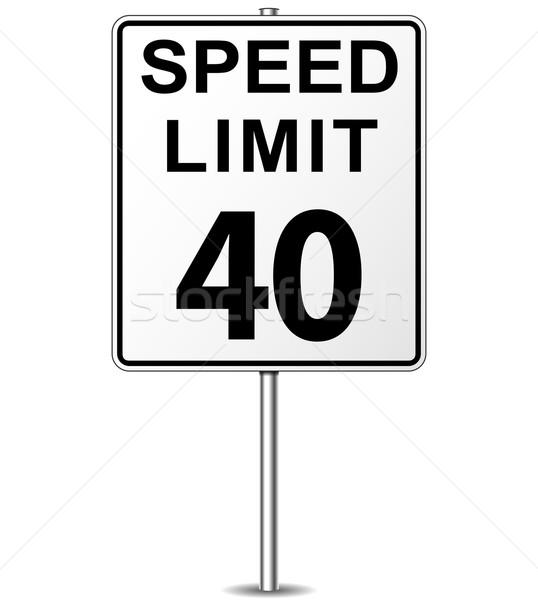 Stok fotoğraf: Vektör · hız · limiti · imzalamak · kırk · tabelasını · yol