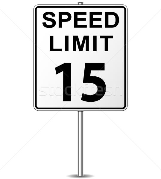 Stok fotoğraf: Vektör · hız · limiti · imzalamak · onbeş · tabelasını · yol