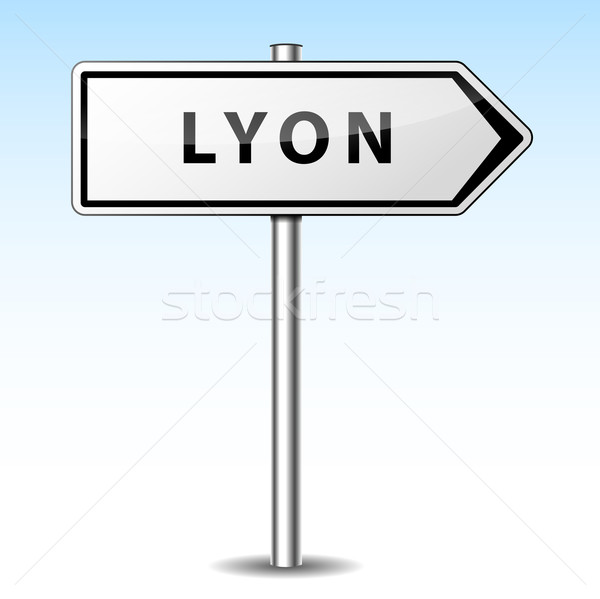 Vector lyon directional sign Stock photo © nickylarson974
