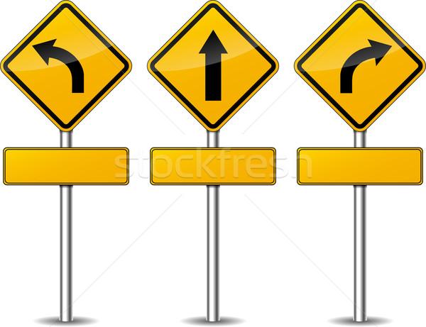 Vector yellow turn signs Stock photo © nickylarson974