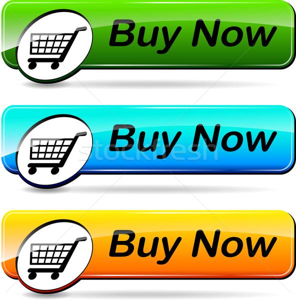 Boutons illustration trois web vert Photo stock © nickylarson974