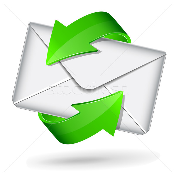 mail icon with green arrows Stock photo © nickylarson974