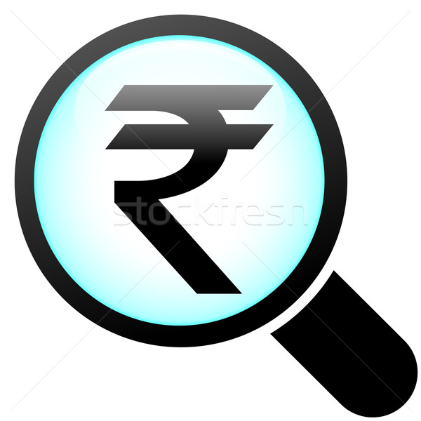 Rupee glass icon Stock photo © nickylarson974