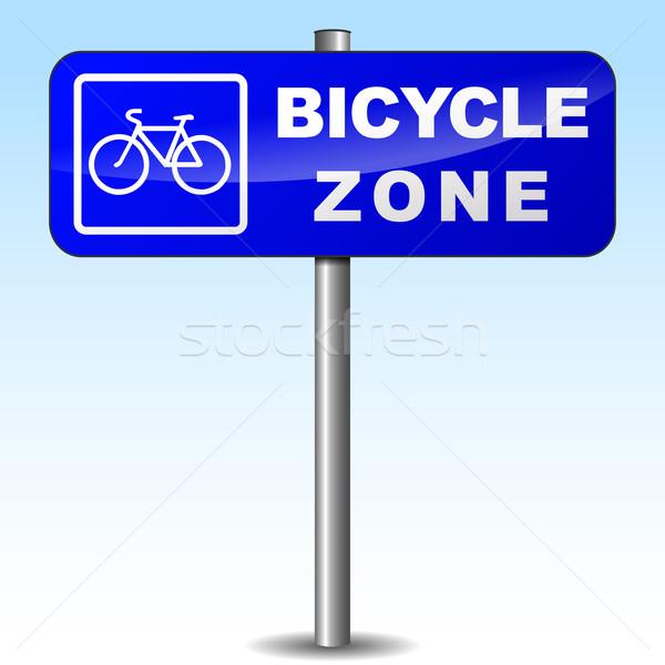 Vector bicycle zone sign Stock photo © nickylarson974