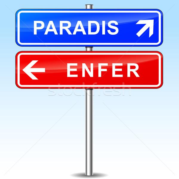 Paradijs hel borden frans vertaling Stockfoto © nickylarson974