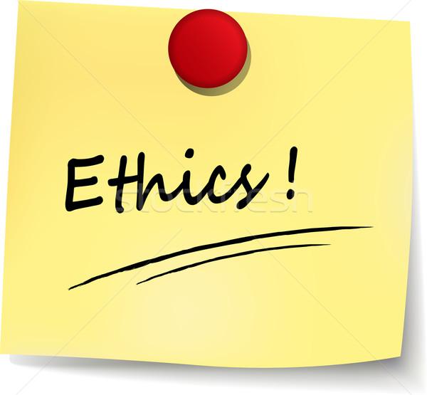 Ethiek teken illustratie Geel nota ontwerp Stockfoto © nickylarson974