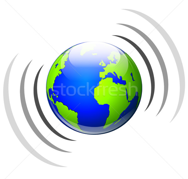 In tutto il mondo broadcasting icona illustrazione bianco business Foto d'archivio © nickylarson974