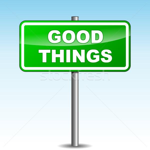 Vetor bom coisas poste de sinalização verde céu Foto stock © nickylarson974