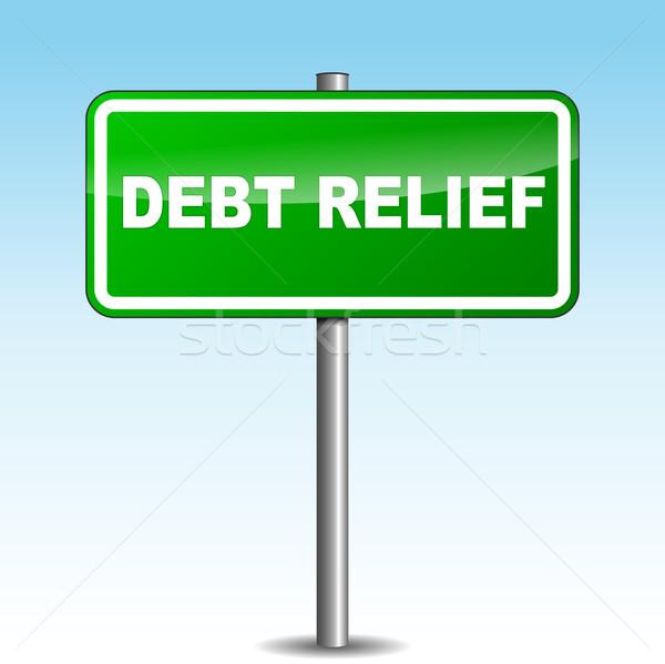 Vektor Schulden Erleichterung Wegweiser Himmel Straße Stock foto © nickylarson974