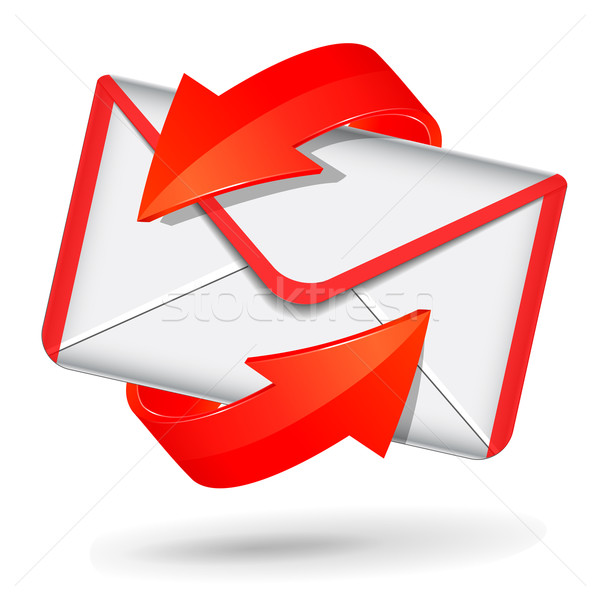 Stockfoto: Vector · Rood · witte · mail · icon · envelop