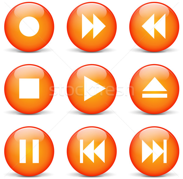 Vector multimedia orange web buttons Stock photo © nickylarson974