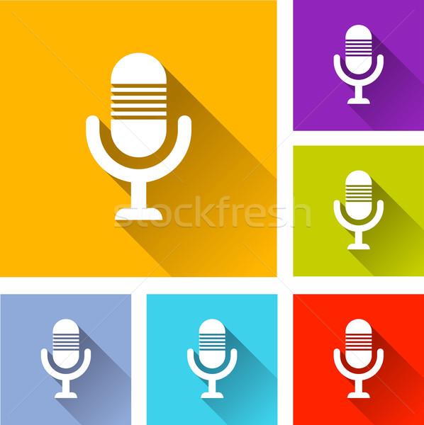 микрофона иконки иллюстрация дизайна набор знак Сток-фото © nickylarson974