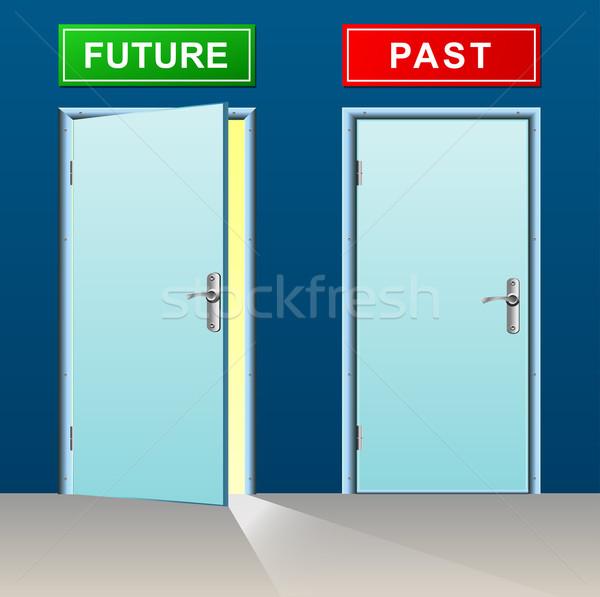 Futuro passado ilustração portas negócio projeto Foto stock © nickylarson974