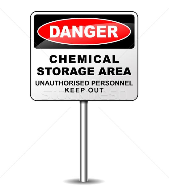 Químico armazenamento assinar ilustração branco vermelho Foto stock © nickylarson974