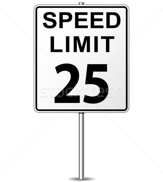 Stock foto: Vektor · Geschwindigkeitsbegrenzung · Zeichen · zwanzig · fünf · Wegweiser