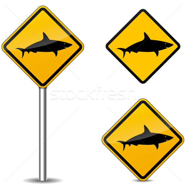 Vetor tubarão sinais aviso branco praia Foto stock © nickylarson974