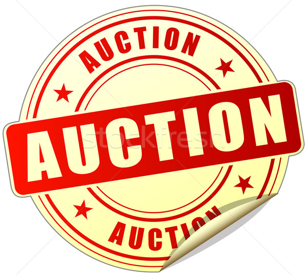 Stock photo: auction red sticker