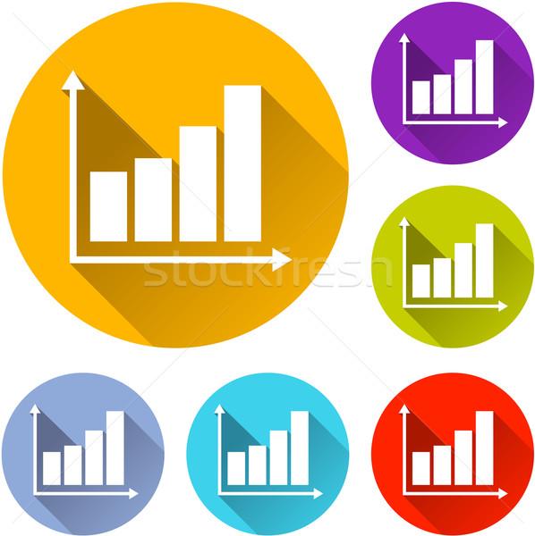 Grafikon ikonok hat színes üzlet terv Stock fotó © nickylarson974