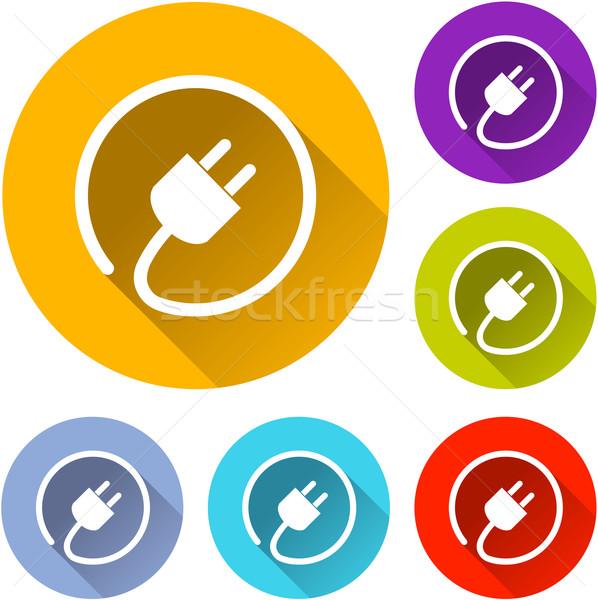 Elettrici plug icone sei colorato design Foto d'archivio © nickylarson974