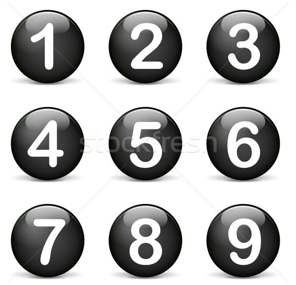 Foto stock: Vetor · números · ícones · preto · branco · teia