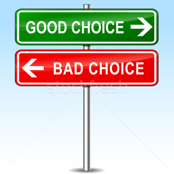 Сток-фото: хорошие · плохо · выбора · знак · иллюстрация · металл