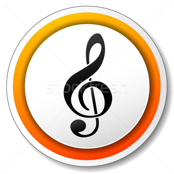 музыку икона иллюстрация белый оранжевый дизайна Сток-фото © nickylarson974