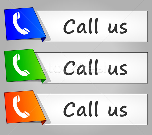 call us paper design web buttons Stock photo © nickylarson974