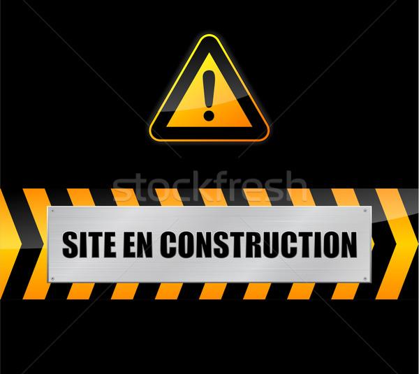 építkezés felirat fekete internet terv biztonság Stock fotó © nickylarson974