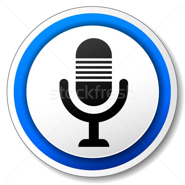 Stockfoto: Vector · microfoon · icon · Blauw · witte · ontwerp