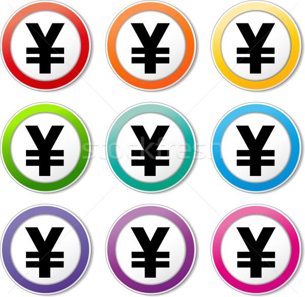 Yen iconos ilustración colores establecer Foto stock © nickylarson974