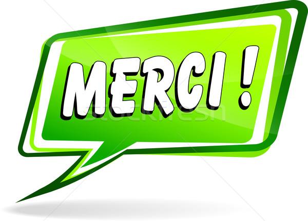 Dank toespraak frans vertaling groene ontwerp Stockfoto © nickylarson974