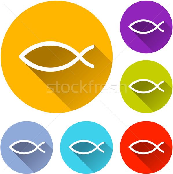İsa balık simgeler altı renkli dizayn Stok fotoğraf © nickylarson974