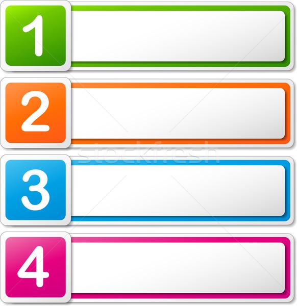 Stockfoto: Vector · vier · banners · kleurrijk · witte · papier