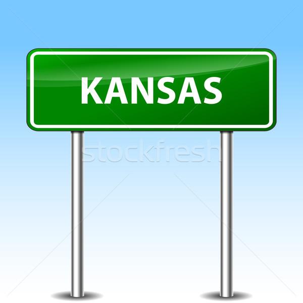 Kansas zöld felirat illusztráció fém jelzőtábla Stock fotó © nickylarson974