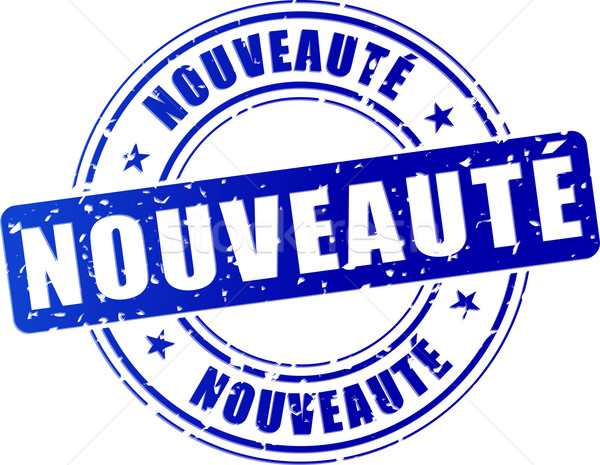 Nowość niebieski projektu pieczęć francuski tłumaczenie Zdjęcia stock © nickylarson974