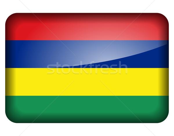 Маврикий флаг икона белый знак веб Сток-фото © nickylarson974
