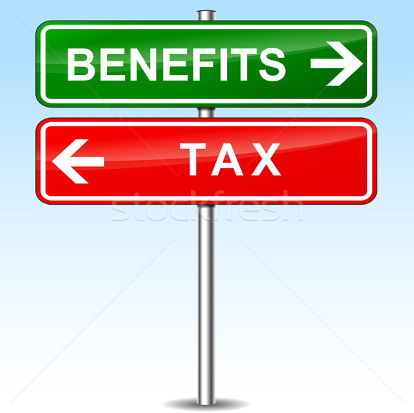Stock photo: benefits and tax directional signs