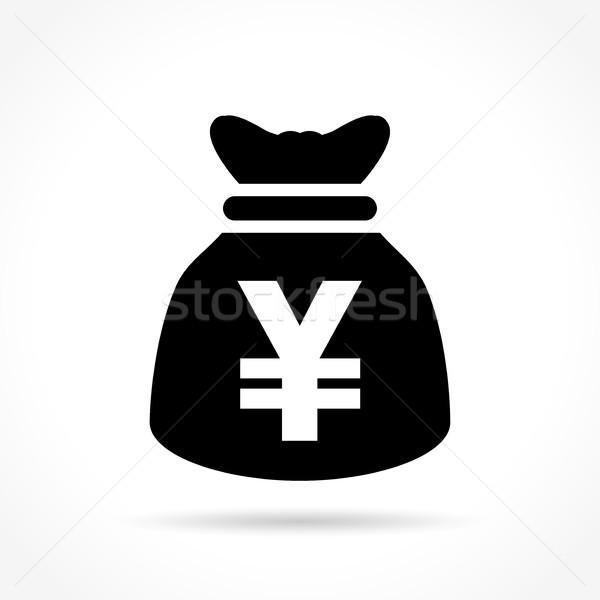 Yen çanta ikon örnek beyaz para Stok fotoğraf © nickylarson974