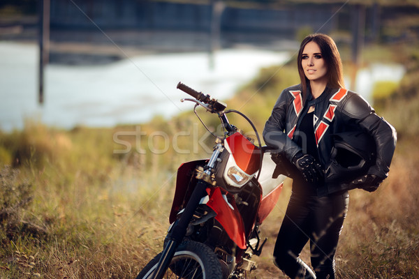 Kadın motocross motosiklet portre serin spor Stok fotoğraf © NicoletaIonescu