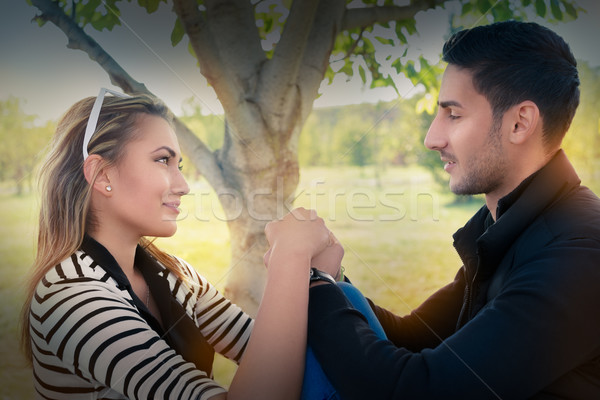 Amor olhando olhos romântico feliz Foto stock © NicoletaIonescu
