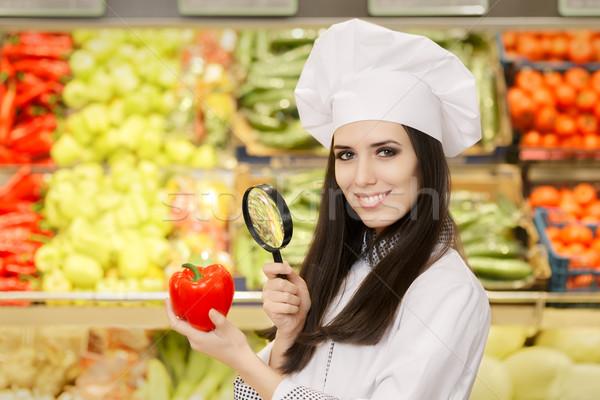 Stockfoto: Gelukkig · dame · chef · groenten · vergrootglas · portret
