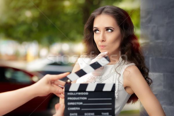 Aktris düşünme sonraki hat film genç Stok fotoğraf © NicoletaIonescu