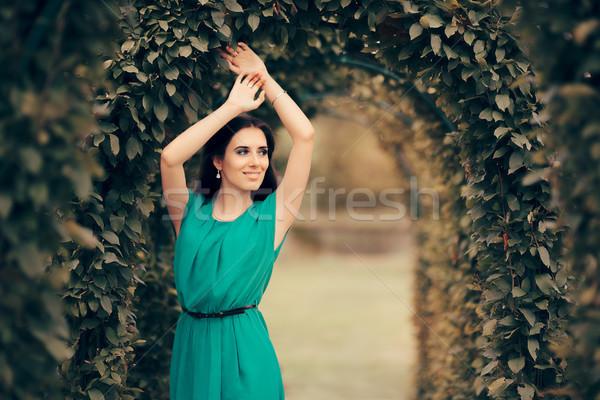 Gyönyörű elegáns nő hivatalos buli kert Stock fotó © NicoletaIonescu