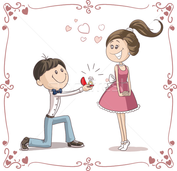 Man Asking Woman to Marry Him Cartoon Illustration Stock photo © NicoletaIonescu