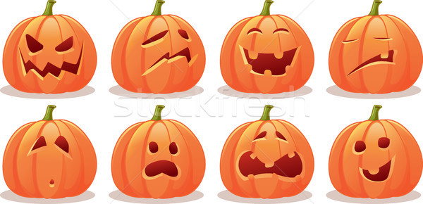 Funny Expressive Halloween Pumpkin Vector Set Stock photo © NicoletaIonescu