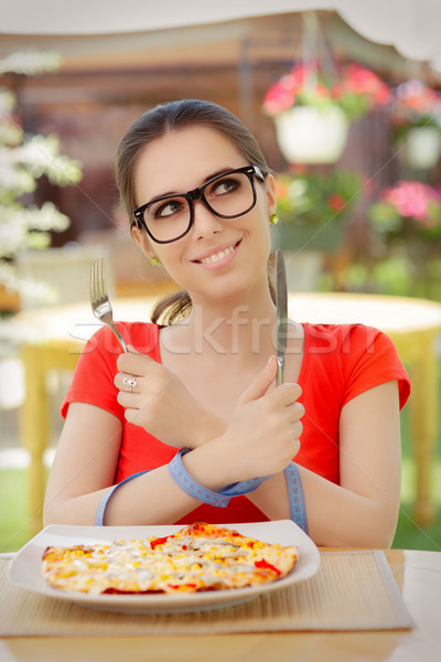 Funny Woman with Hands Tied with Measure Tape Stock photo © NicoletaIonescu