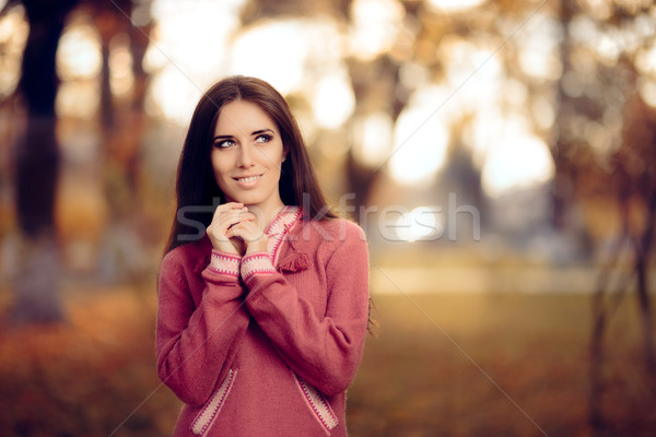 Woman Wearing Peruvian Alpaca Wool Sweater Stock photo © NicoletaIonescu